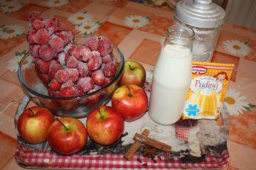 Szamóca leves karamellizált alma ágyon, fehér csokival - Hozzávalók