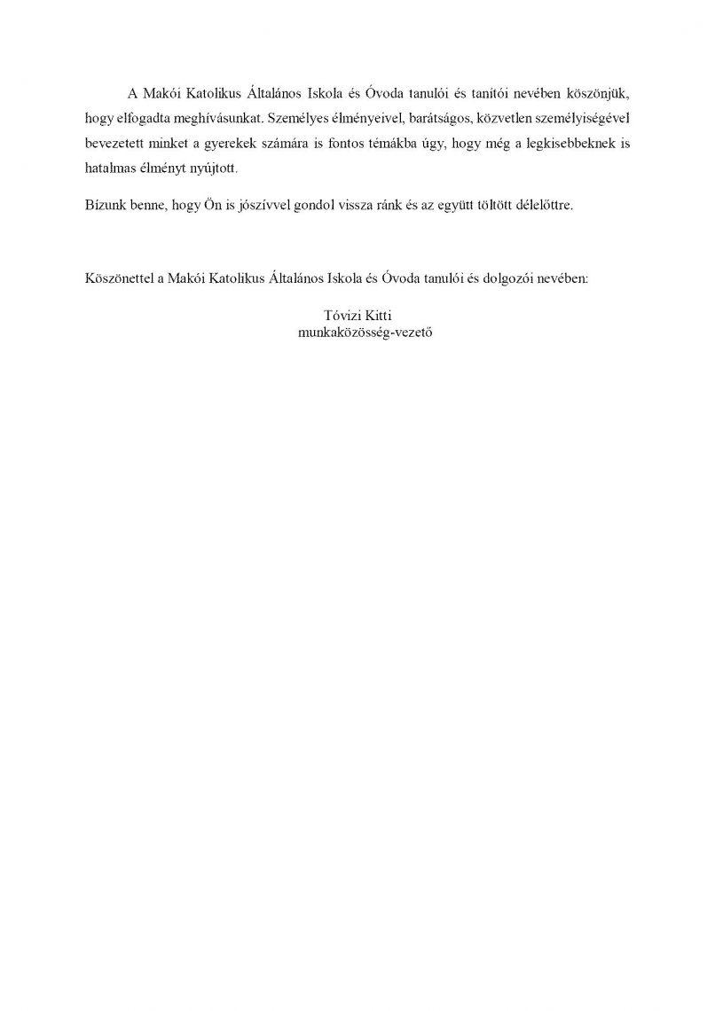 Köszönőlevél 2. oldal