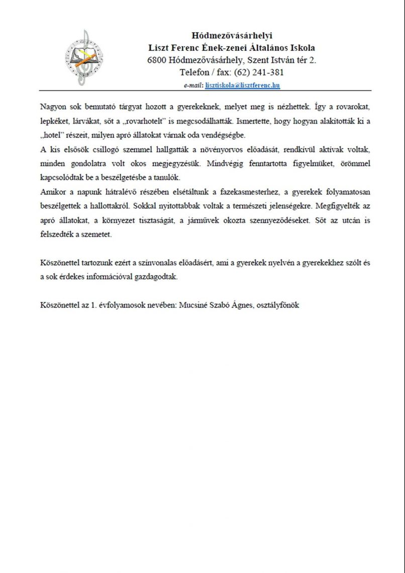 Pályaválasztási nap Sipos Gazdával köszönőlevél - 2. oldal