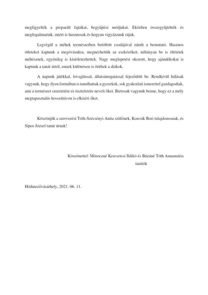 Tanulmányi kirándulás Sipos Gazdával köszönőlevél - 2. oldal